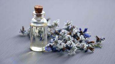 bosje lavendel en een flesje