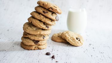 stapel koekjes met glas melk (bij deze webshops bestel je de lekkerste koekjes online)