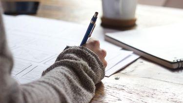 Meisje schrijft in boekje (doelen stellen tijdens nieuwe maan)